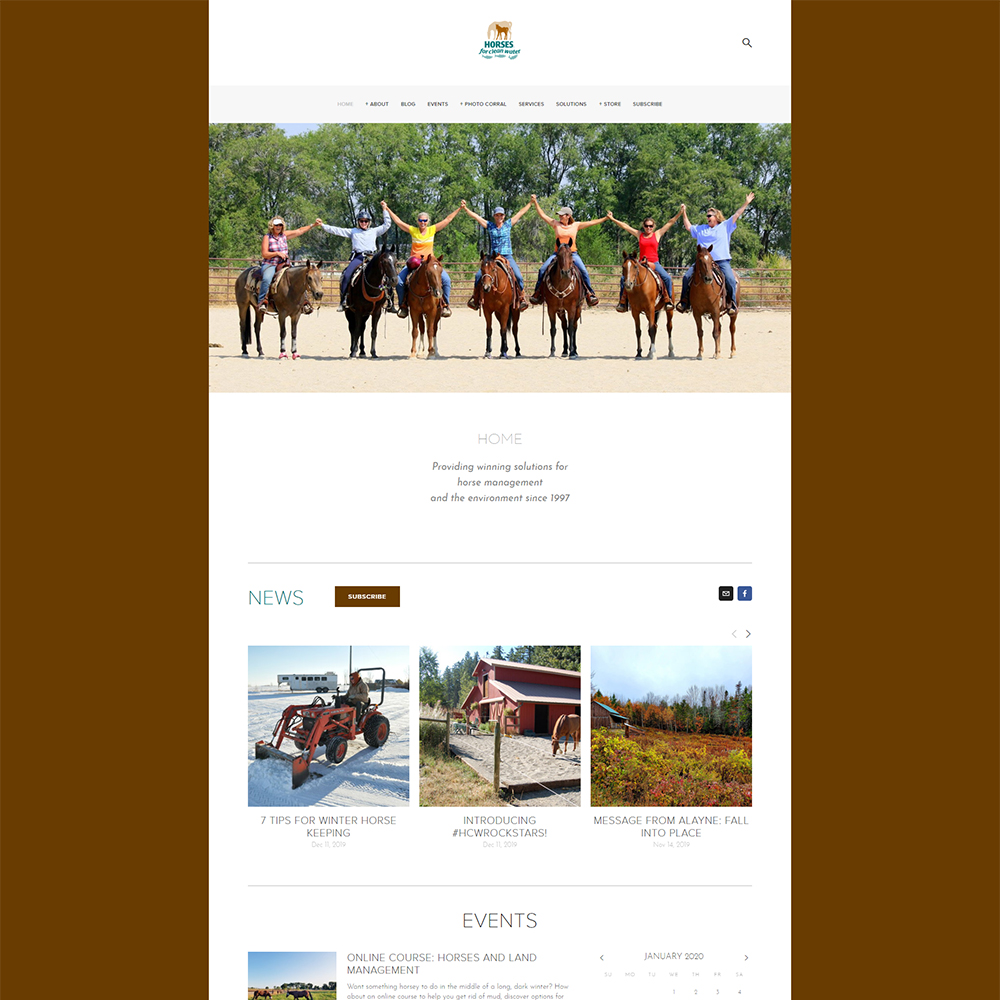 Screenshot of Horses for Clean Water webpage