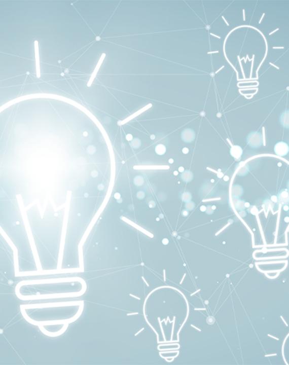 Lightbulb illustrations on a light blue background