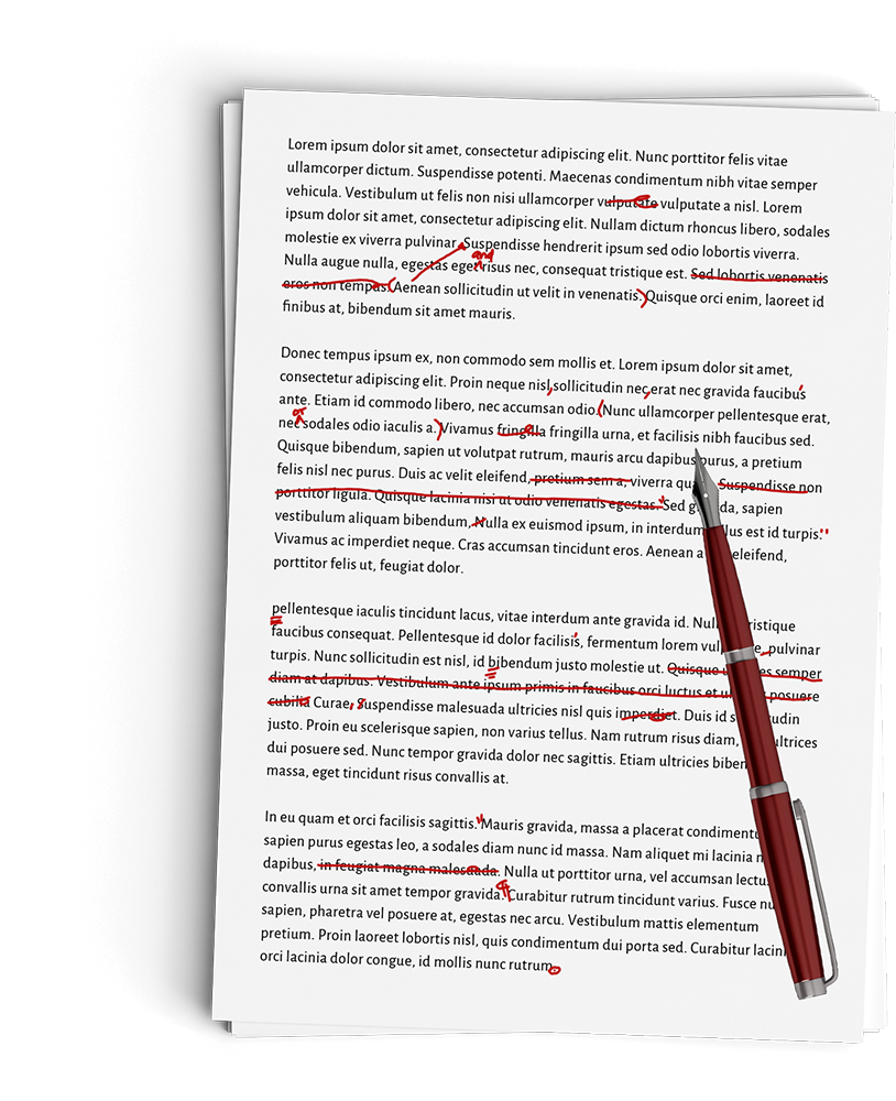 Red pen on top of an edited manuscript