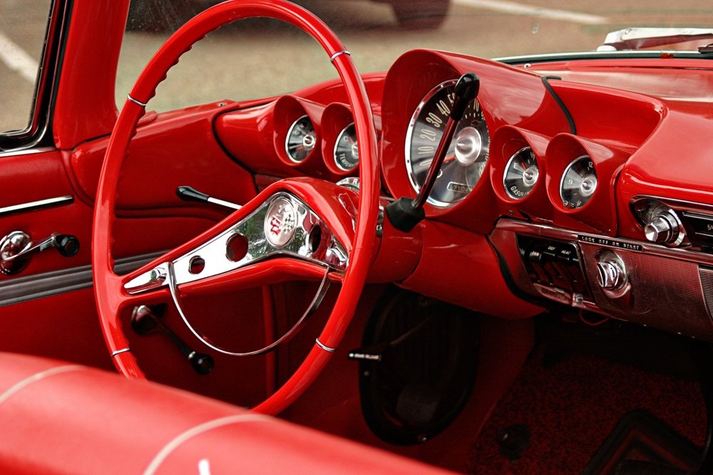 Red interior of a classic car