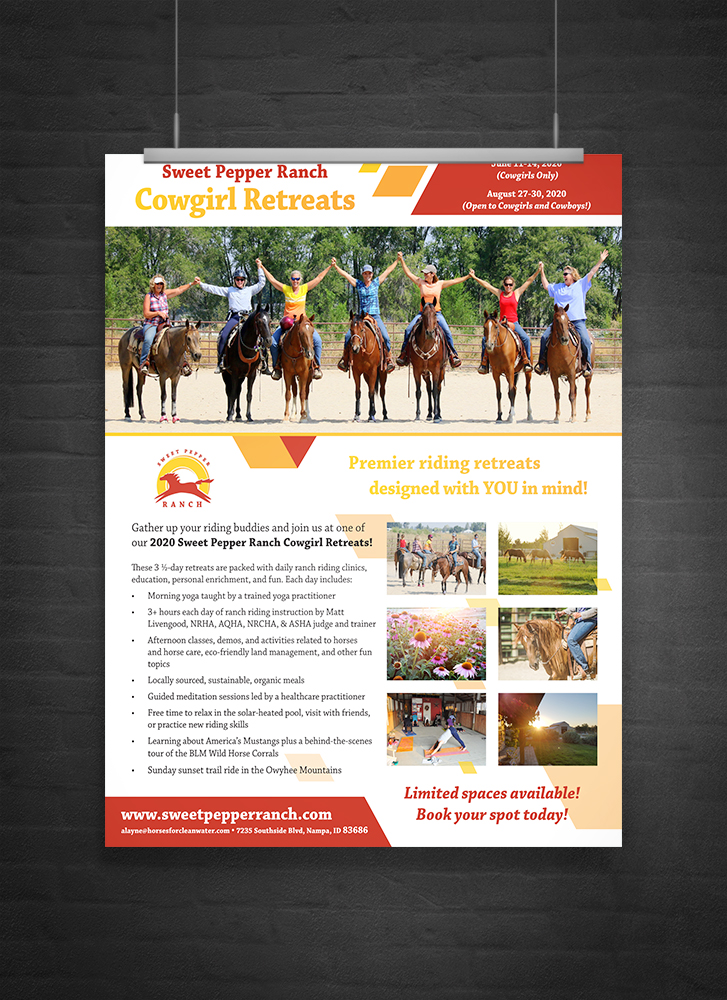 Poster promoting Sweet Pepper Ranch cowgirl retreats