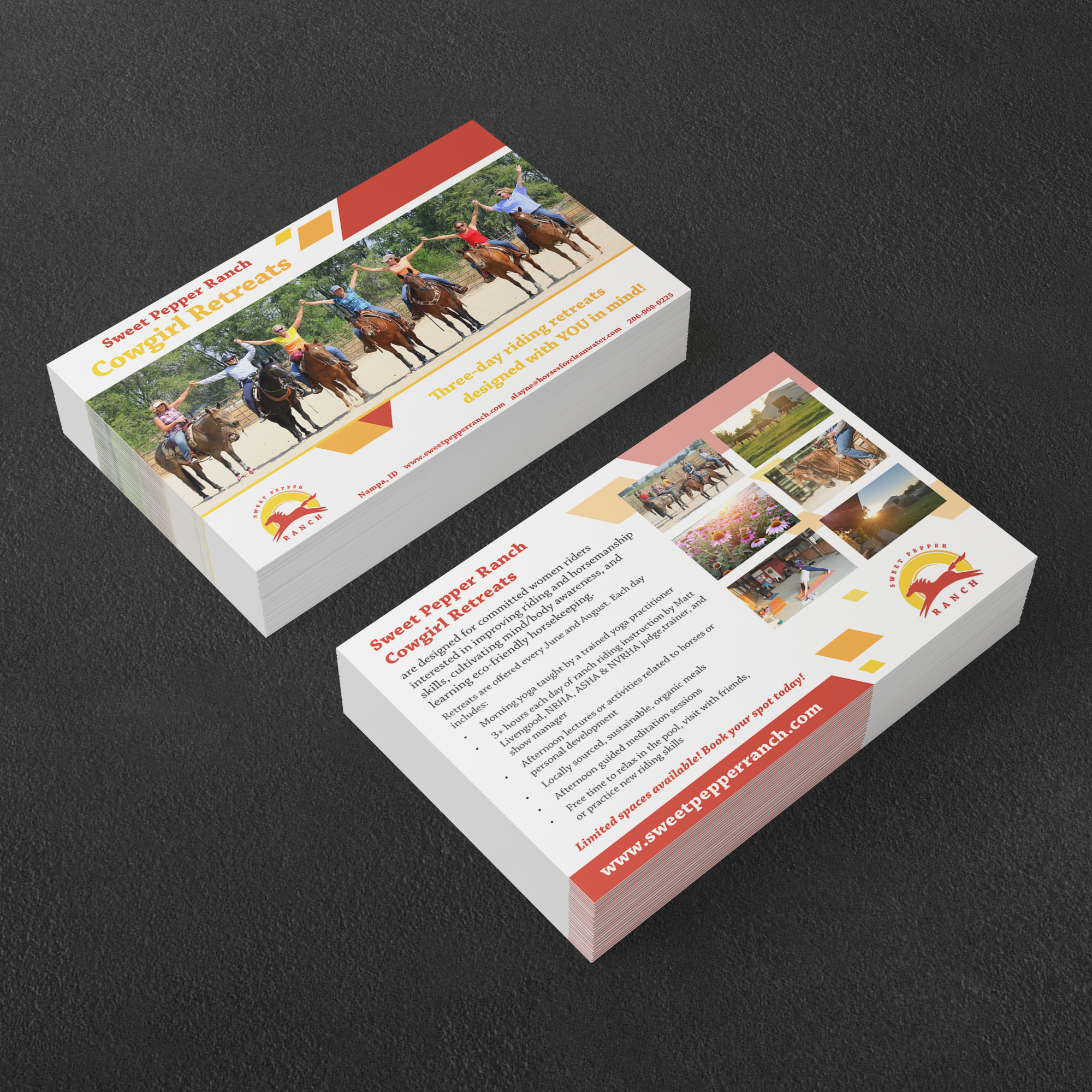 Promotional postcards for a horseback riding retreat