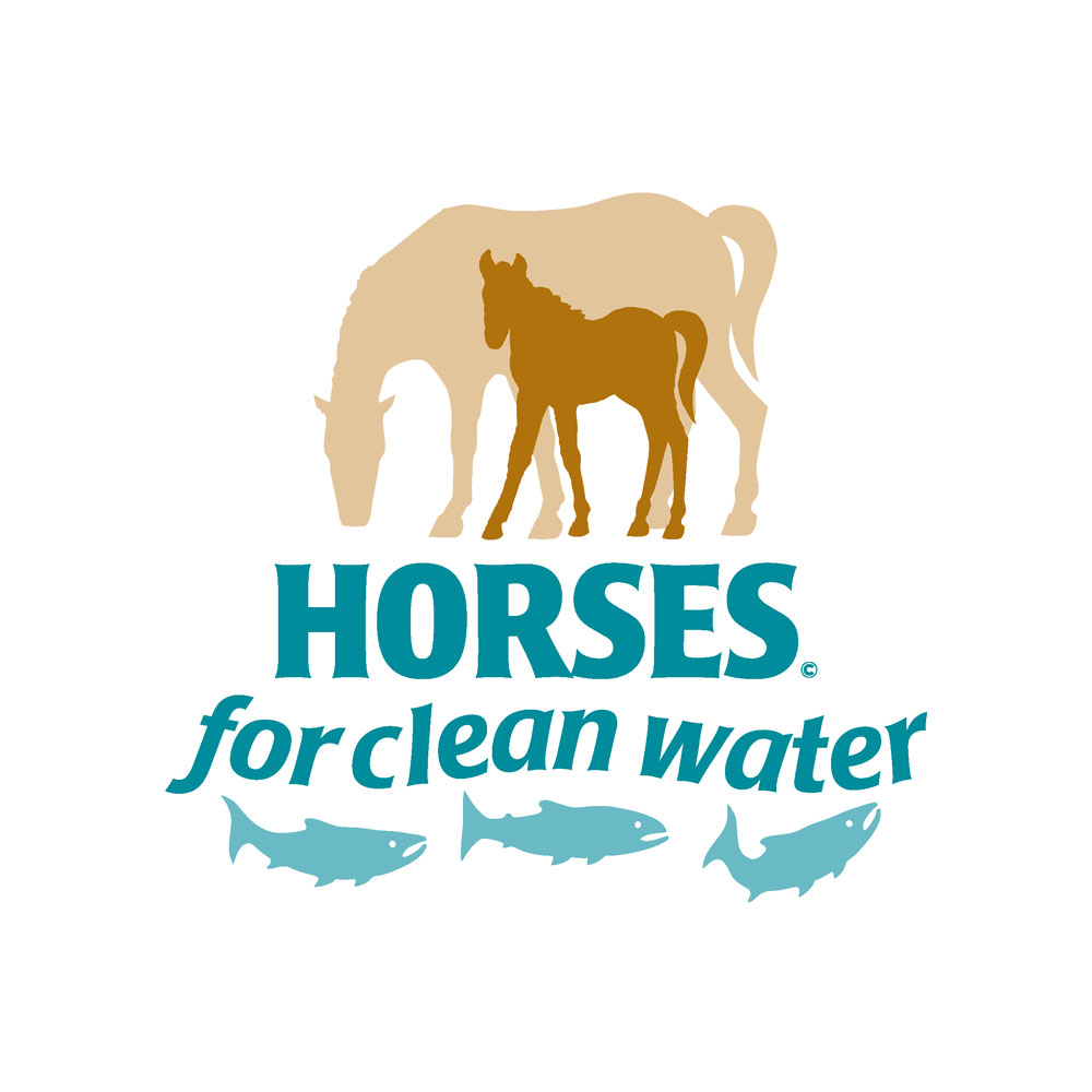 Horses for Clean Water logo with silhouette of mother and foal and three fish